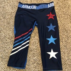 Under Armor Stars and Stripes Cropped leggings.